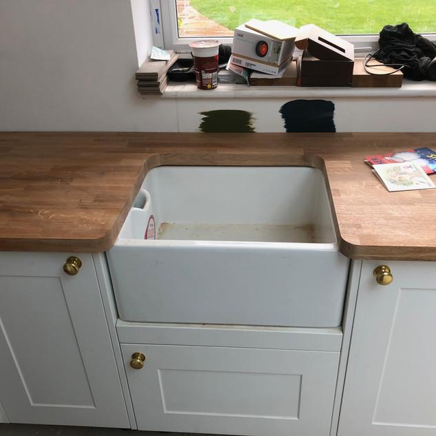 Butler sink oak worktop detail