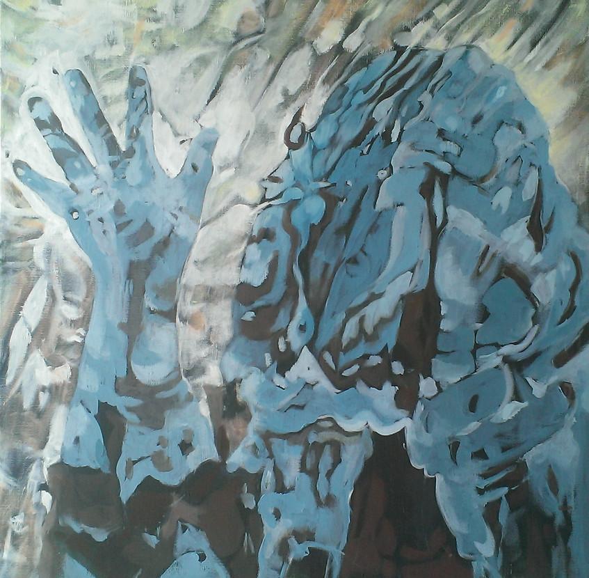 Josephine Allen Talk Begins Acylic on Canvas 60 x 60