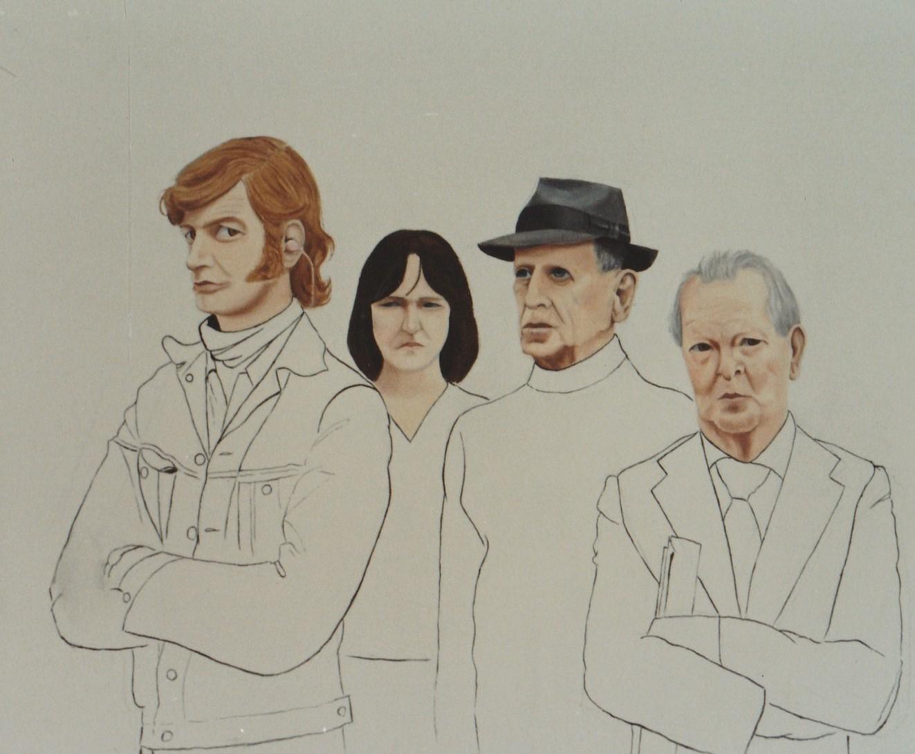 Four Faces Oil on Canvas 1978