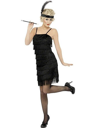 Black Fringe Flapper Costume AFD33451
