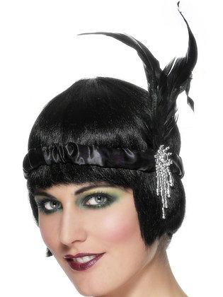 Black Satin Charleston Headband AFD23893