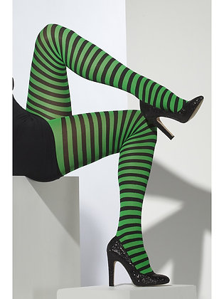 Striped Tights, Black and Green AFD42722