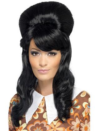 60s Brigitte Bouffant Black Wig AFD41410