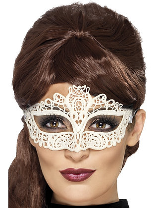 Embroidered Lace Eye Mask, White AFD45226