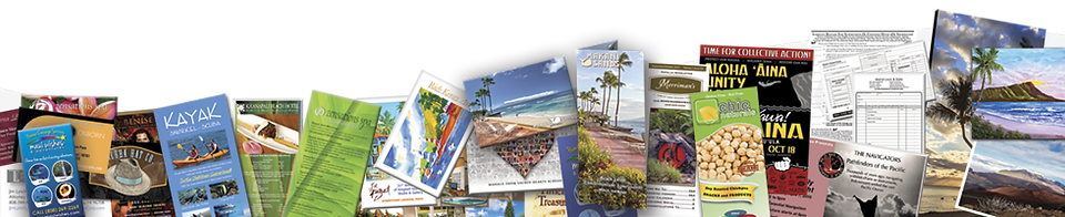 Sample of the many types of printed materials offered by Island Printing & Imaging.