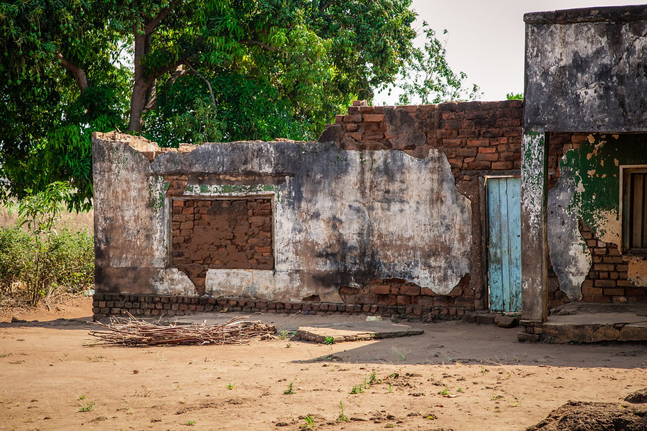 Broken down buildings are a common sight in Malawi