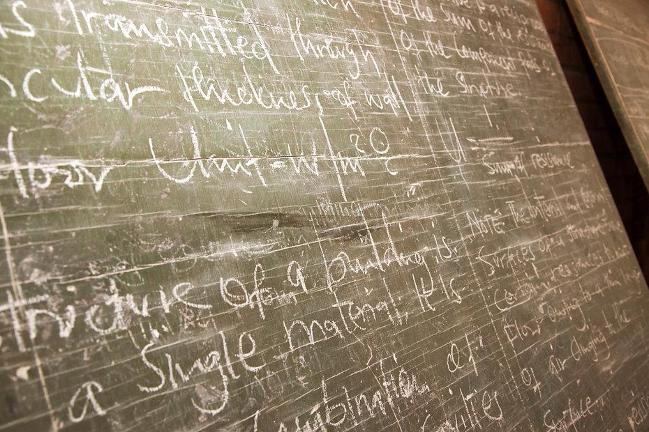 A blackboard inside a classroom