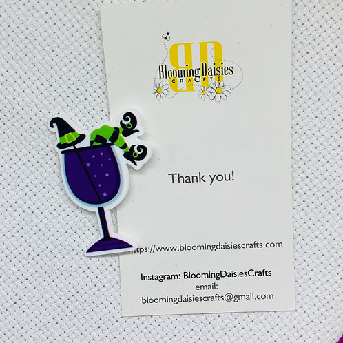 Witch in Wine Glass Needle Minder / Holder / Magnet
