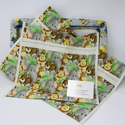 Baby Jungle Animals Q-Snap Project Bags 11x11 or 11x17 / Cross stitch