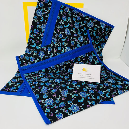 Q-Snap Project Bags - Blue/Purple Flower 11x11 or 11x17 / Cross stitch Trave