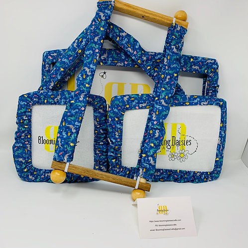 Seahorse Print on Blue Patterned Grime Guards for Cross Stitch / Pro
