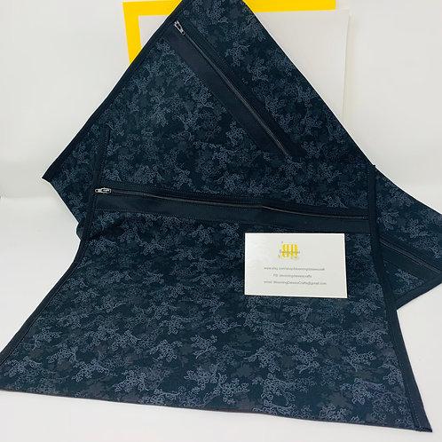 Q-Snap Project Bag - Dark Black Flowered Fabric w/Black Lining 11x11 or 11x17