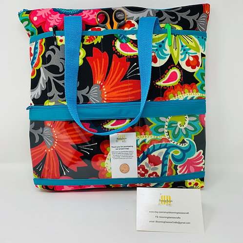 Large Flowered Project Bag for Cross Stitch, Zippered, Cross Stitch Organizer