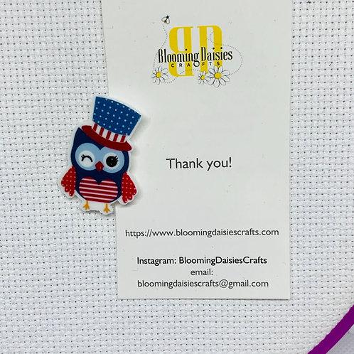 Owl for  4th of July / Patriotic Needle Minder / Holder / Magnet