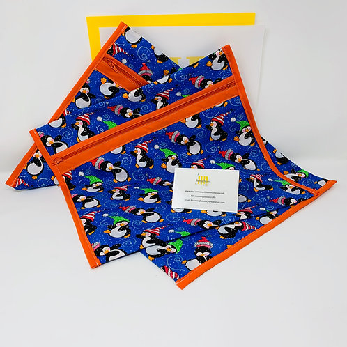 Q-Snap Project Bag - Dancing Penguins! 11x11 or 11x17 / Cross stitch Travel Bag