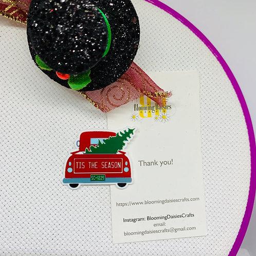 Christmas Truck w/Tree Needle Minder / Holder / Magnet