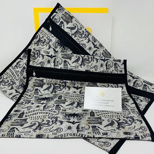 Q-Snap Project Bag - Ouija Fabric w/Black Lining 11x11 or 11x17 / Cross stit...
