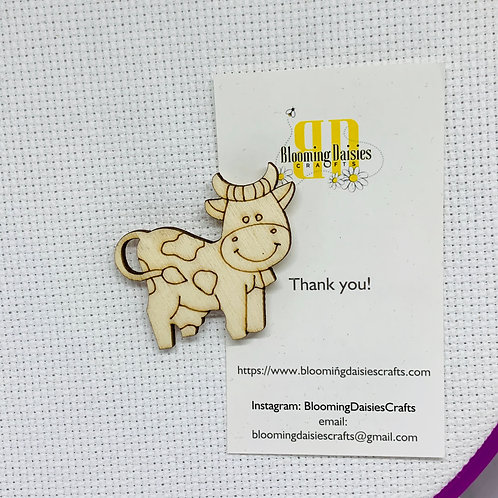 Cow Wooden Needle Minder for Cross Stitch