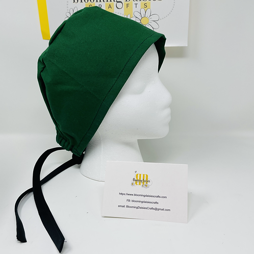 Green with Black Nurses Surgical Cap Hat