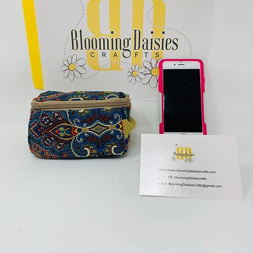 Pretty Blue Design Smart Phone Cord Organizer/Travel Bag