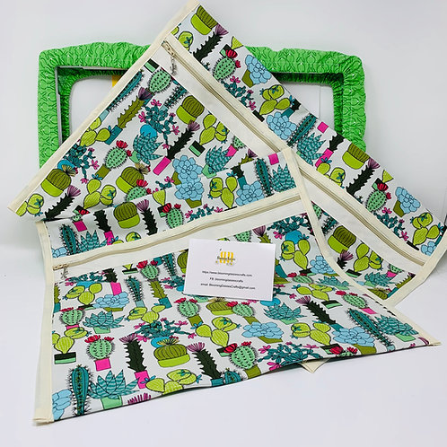 Q-Snap Project Bags - Succulent 11x11 or 11x17 / Cross stitch Travel Bag