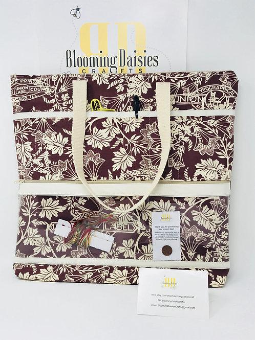 Large Mauve/Cream Project Bag for Cross Stitch, Zippered, Cross Stitch Organizer