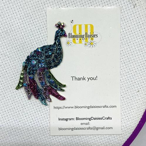 Rhinestone Peacock Needle Minder
