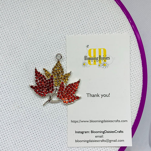 Rhinestone Fall Leaves Needle Minder for Cross Stitch, Spring Magnet