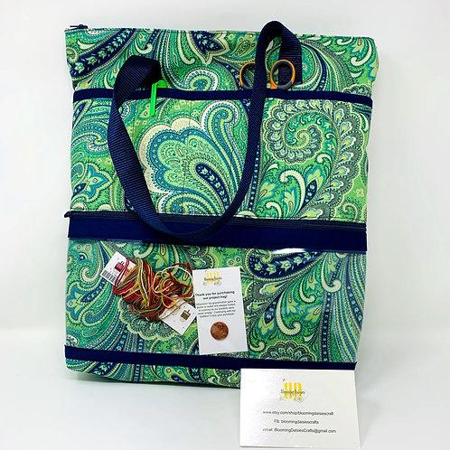Project Bag - Medium Green w/Navy Paisley