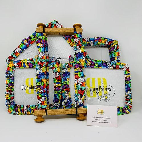 Bright Rainbow Dog Pattern Grime Guard Needlepoint Qsnap, Protec
