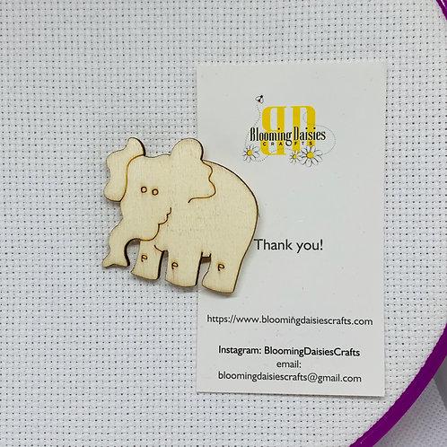 Elephant Wooden Needle Minder