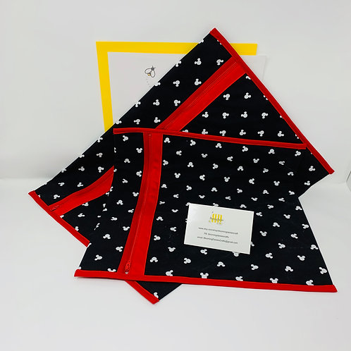 Mickey White on Black w/Red Q-Snap Bags/Project Bags