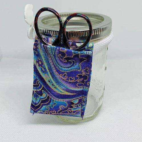 Purple Paisley ORT Jar Needlecraft Accessory Organizer - Scissor Holder - Cro