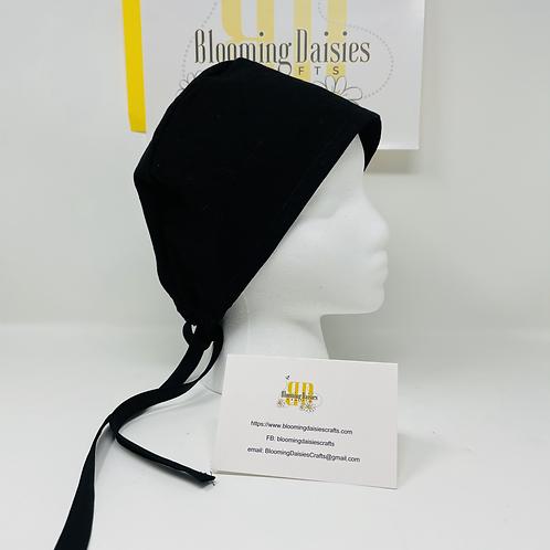 Plain Black Unisex Healthcare Surgical Cap/Bonnet/Nurse Cap