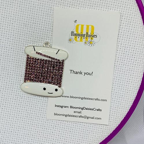 Purple Rhinestone Floss Holder Needle Minder for Cross Stitch, Spring Magnet