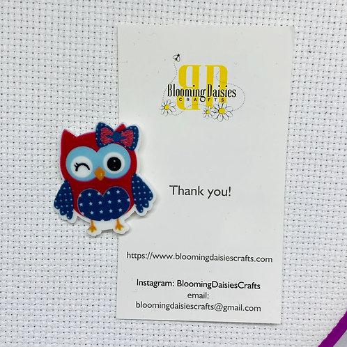 Patriotic Owl for  4th of July / Patriotic Needle Minder / Holder / Magnet
