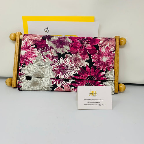 Magenta Flowered Scroll Rod Dust Cover