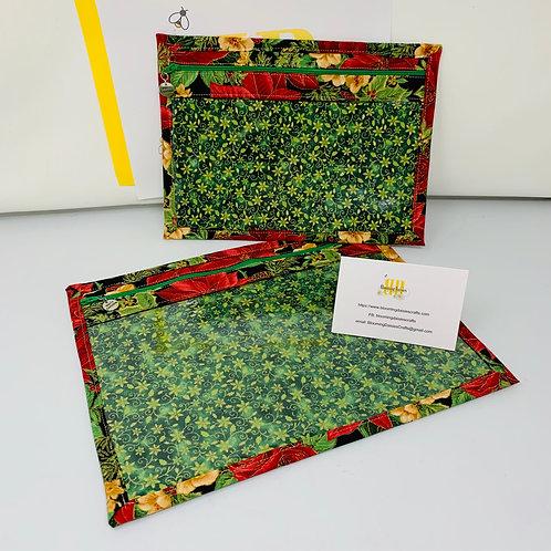 WIP Project Bags - Beautiful Poinsettia Small / Large / Cross sti