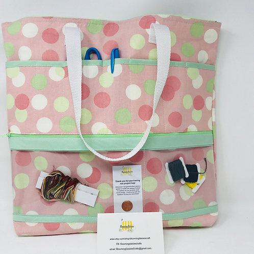 Large Polka Dot Project Bag for Cross Stitch, Zippered, Cross Stitch Organizer