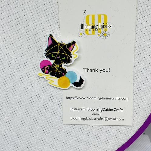 Cute Black Cat w/Yarn Magnetic Needle Minder for Cross Stitch, Needlecraft