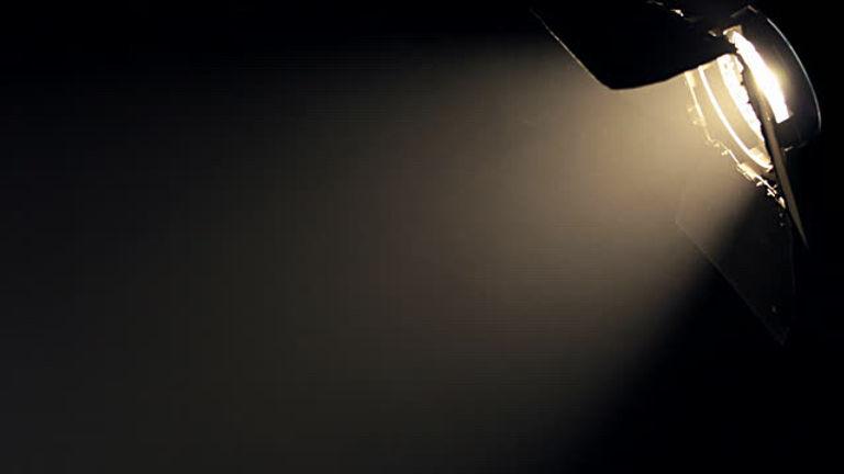 Stage light on film set