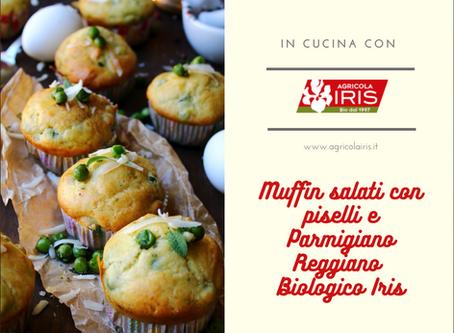 Muffin salati con Parmigiano Reggiano BIO IRIS e piselli