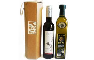 יין 375 או שמן זית 500 במארז משושה עם ידית ח