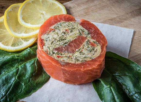 Spinach, Artichoke, & Red Pepper Salmon Pinwheel