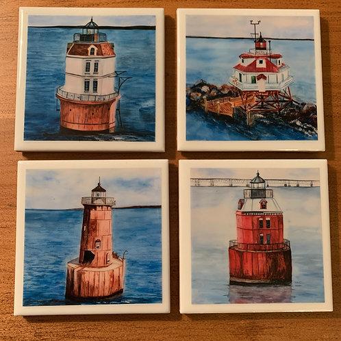 Chesapeake Lighthouses- Set of 4 Coasters