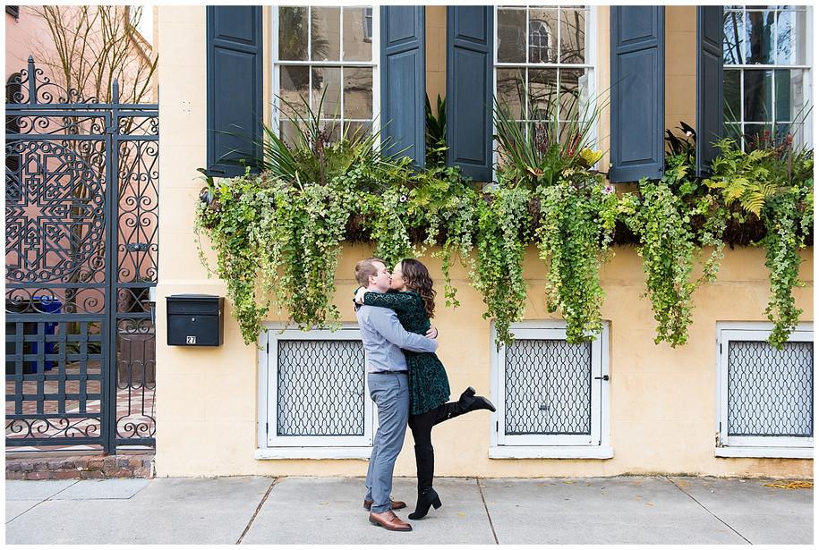 Katie + Josh || Classic Brick + Greenery Downtown Charleston + Hampton Park Engagement Session
