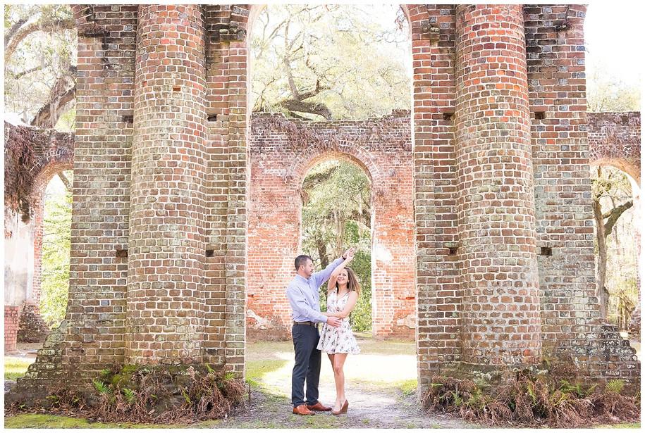 Lauren + Jason || Springtime Old Sheldon Church Ruins + Bluff Plantation Engagement Session