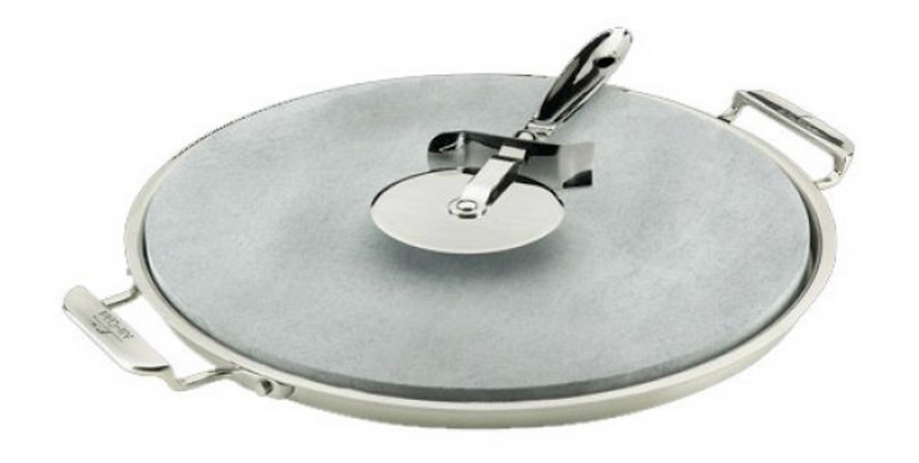 """All-Clad 13"""" Pizza Stone With Serving Tray And Cutter"""
