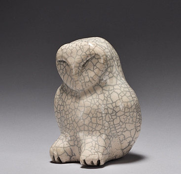 Owl shown in white crackle