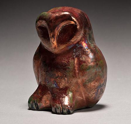 Owl shown in copper matte